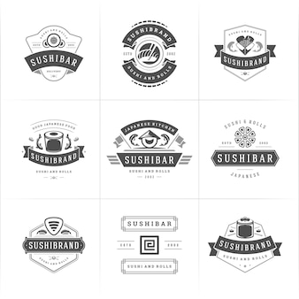 Logotipos e emblemas de restaurantes de sushi definem comida japonesa
