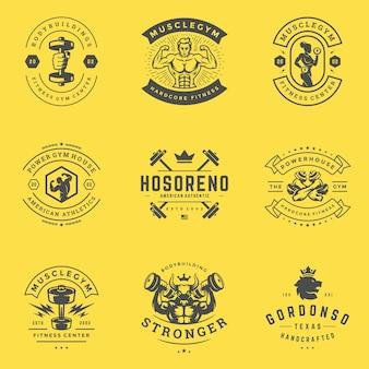 Logotipos e emblemas do centro de fitness e ginásio de esportes projetam ilustração definida.