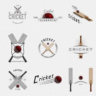 Logotipos e etiquetas de emblemas de críquete podem ser usados para design