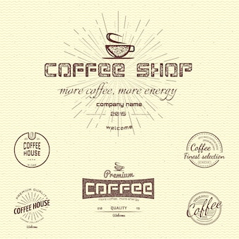 Logotipos e etiquetas dos crachás do café para algum uso, em um fundo branco.