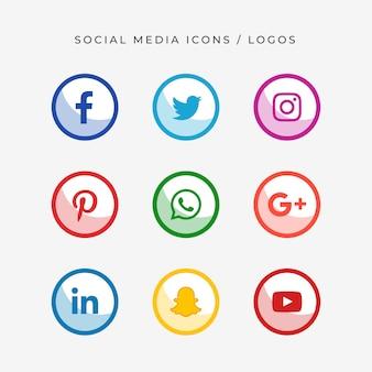 Logotipos e ícones de mídia social moderna