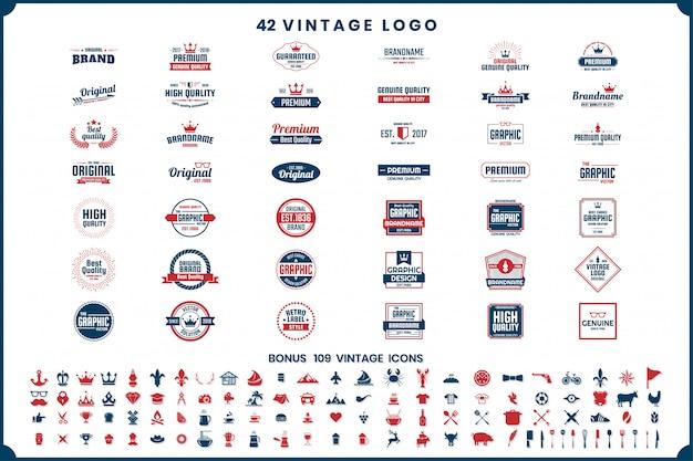 Logotipos e ícones retrô vintage vintage