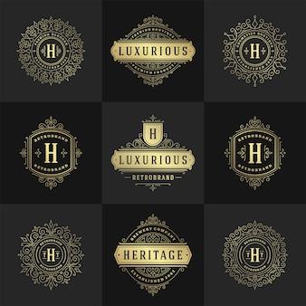 Logotipos e monogramas vintage com floreios elegantes linha arte ornamentos graciosos estilo vitoriano modelo de design