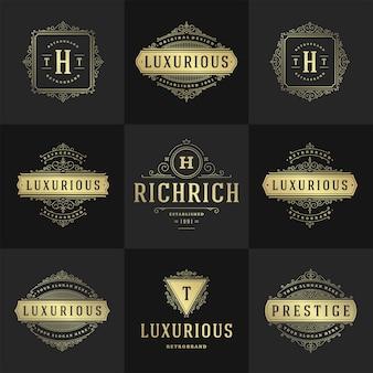 Logotipos e monogramas vintage com floreios elegantes linha arte ornamentos graciosos modelo de design de estilo vitoriano