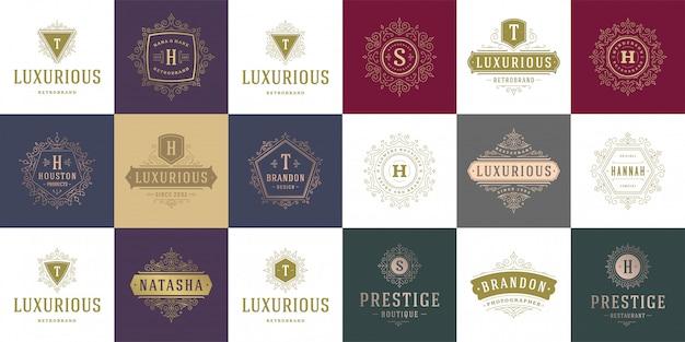 Logotipos e monogramas vintage com floreios elegantes modelo de estilo vitoriano de ornamentos de arte de linha