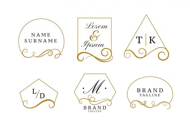 Logotipos elegantes bonitos ou coleção de monogramas de casamento