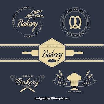 Logotipos elegantes da padaria do vintage