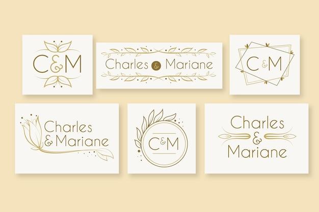 Logotipos elegantes do casamento