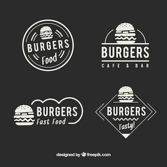 Logotipos elegantes do fast food do restaurante do vintage