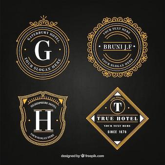Logotipos elegantes hotéis em pacote do estilo do vintage