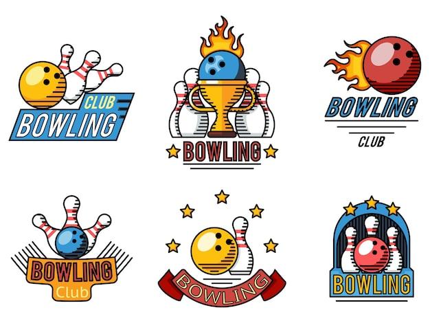 Logotipos, etiquetas ou emblemas de boliche em estilo de linha plana.