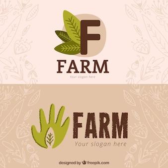 Logotipos fazenda ecológica desenhados mão