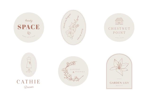 Logotipos femininos elegantes com arte de linha