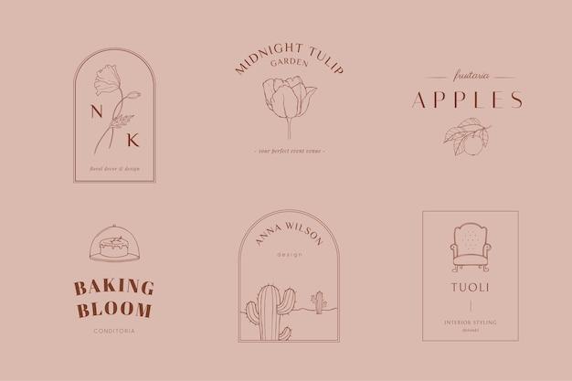 Logotipos florais e botânicos desenhados à mão