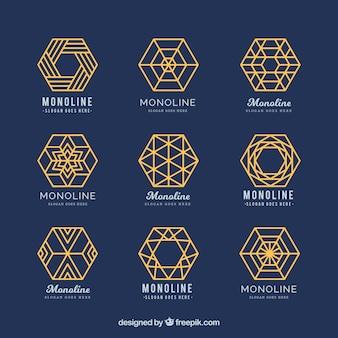 Logotipos geométricos azuis e dourados em estilo monoline