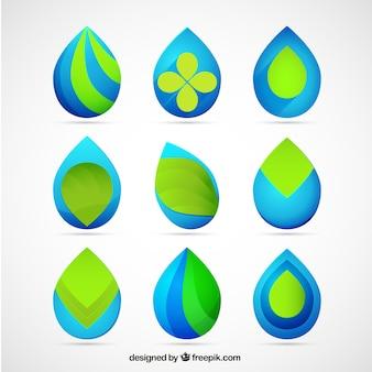 Logotipos gota em cores azuis e verdes