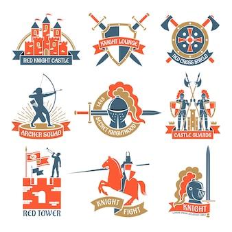 Logotipos heráldicos dos emblemas do cavaleiro