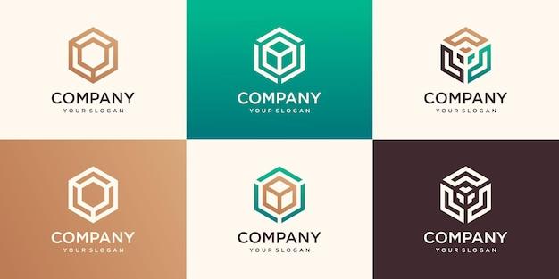 Logotipos hexagonais lineares e elementos de design
