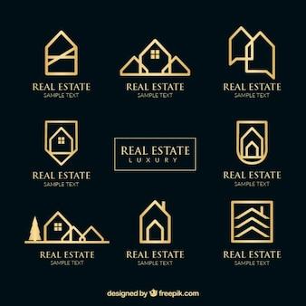 Logotipos imobiliários de ouro