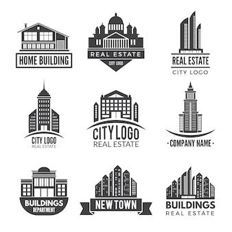 Logotipos imobiliários e rótulos monocromáticos