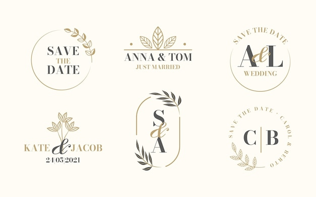 Logotipos lineares de casamento
