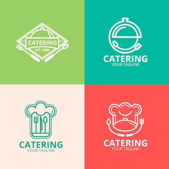 Logotipos lineares de catering plano