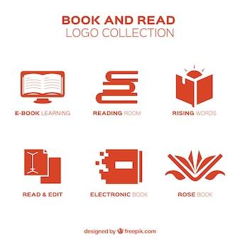 Logotipos livro vermelho em design plano