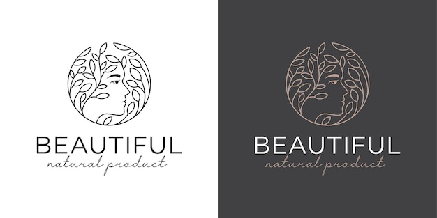 Logotipos luxuosos e elegantes de mulher bonita com folha para cosméticos, cuidados com a pele, estilo de arte de linha de salão de beleza da natureza