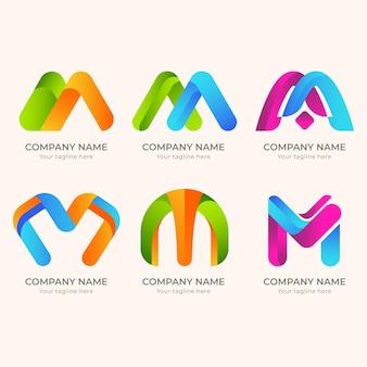 Logotipos m criativos detalhados
