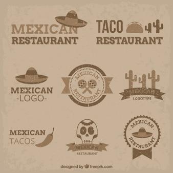 Logotipos mexicano do vintage no design plano