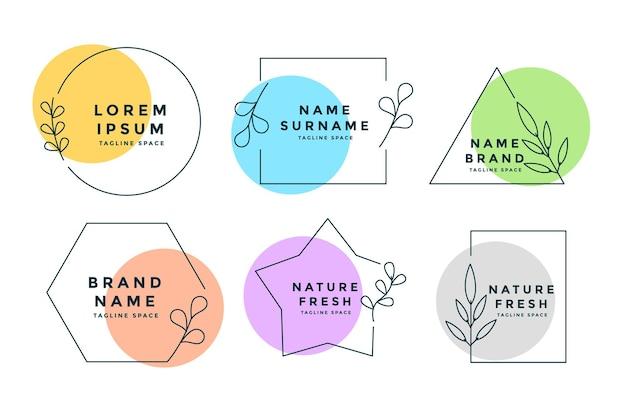 Logotipos minimalistas ou monogramas com um conjunto de seis