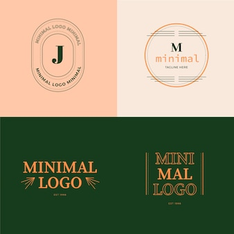 Logotipos mínimos coloridos em estilo retro