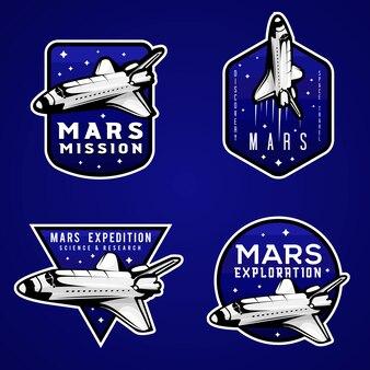 Logotipos missão azul de marte, conjunto de emblemas temáticos de marte com transporte