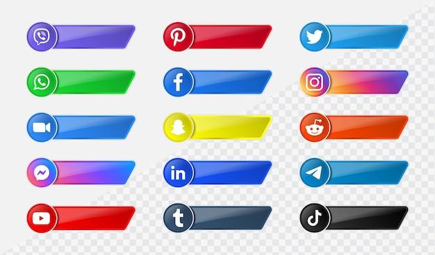 Logotipos modernos de ícones de mídia social em banners de plataforma de rede de botões brilhantes