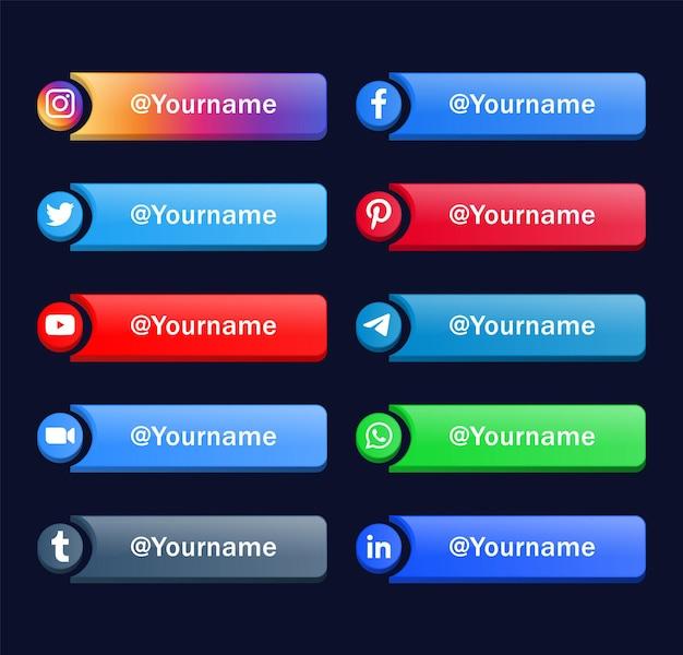 Logotipos modernos de ícones de mídia social ou banners de plataforma de rede