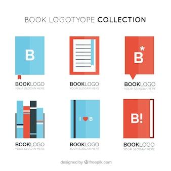 Logotipos modernos de livros em design plano