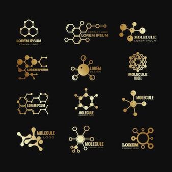 Logotipos moleculares dourados. conjunto de ícones de tecnologia genética de fórmula de conceito de evolução