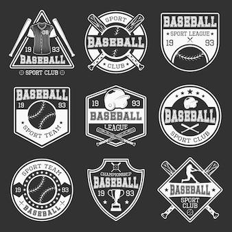 Logotipos monocromáticos de beisebol