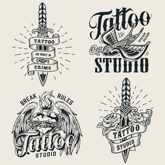 Logotipos monocromáticos de estúdio de tatuagem vintage