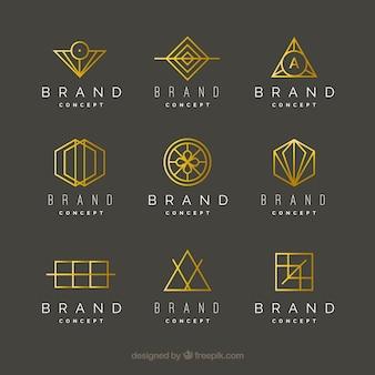Logotipos monoline dourados em estilo geométrico
