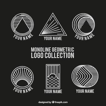 Logotipos monoline geométricos em preto e branco