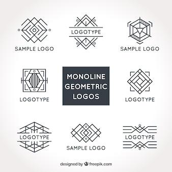 Logotipos monoline modernos em estilo geométrico