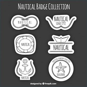 Logotipos náuticas preto e branco, desenhado mão