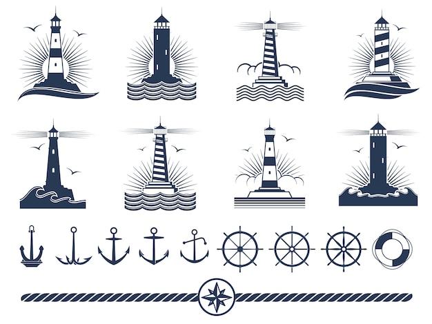 Logotipos náuticos e conjunto de elementos - âncoras faróis corda