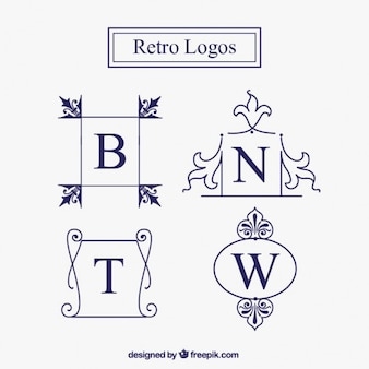 Logotipos ornamentais no estilo do vintage
