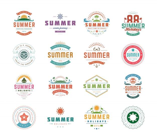 Logotipos ou emblemas de férias de verão