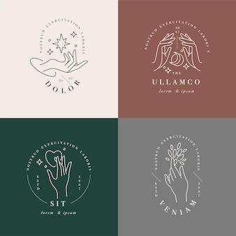 Logotipos ou emblemas de modelo linear - mãos em diferentes gestos.
