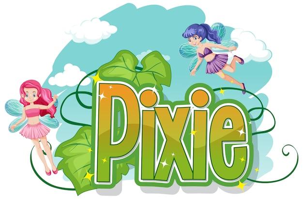 Logotipos pixie com pequena fada em fundo branco Vetor Premium