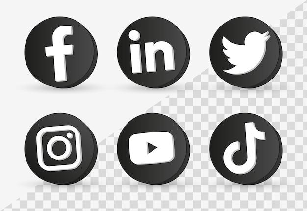Logotipos populares de ícones de mídia social em moldura preta 3d ou botões de plataformas de rede