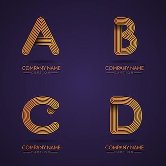 Logotipos profissionais da letra abcd do estilo da impressão digital